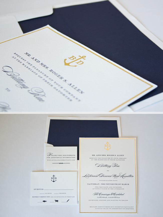 a nautical twist on a classic design in gold foil and navy letterpress