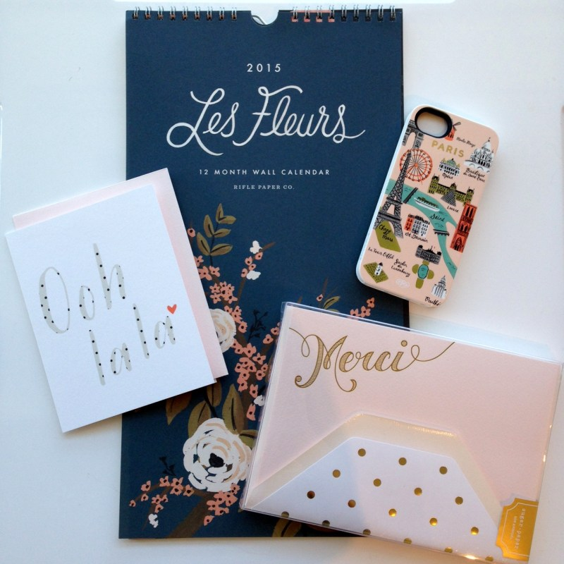 Les Fleurs Calendar and Paris Map iPhone 5 case by Rifle Paper Co, Pink Merci Stationery by Sugar Paper, Ooh La La Card by Pei Design