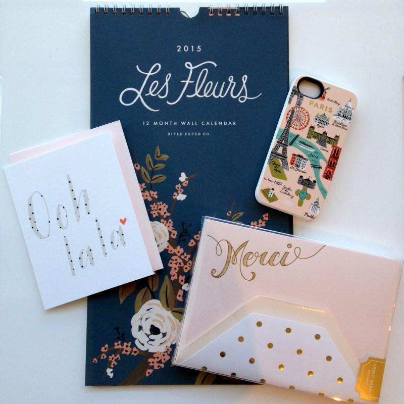 Les Fleurs Calendar and Paris Map iPhone 5 case by Rifle Paper Co, Pink Merci Stationery by Sugar Paper, Ooh La La Card by Pei Design