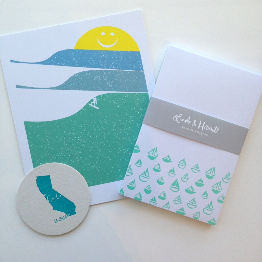 Sunny Surfing Art Print by Brainstorm, La Jolla Coasters by Haute Papier, Sailboats Notepad by Linda & Harriett
