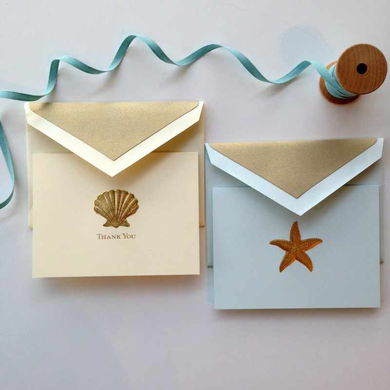 Seashell Engraved Thank You Card and Starfish Engraved Correspondence Card by Crane & Co.