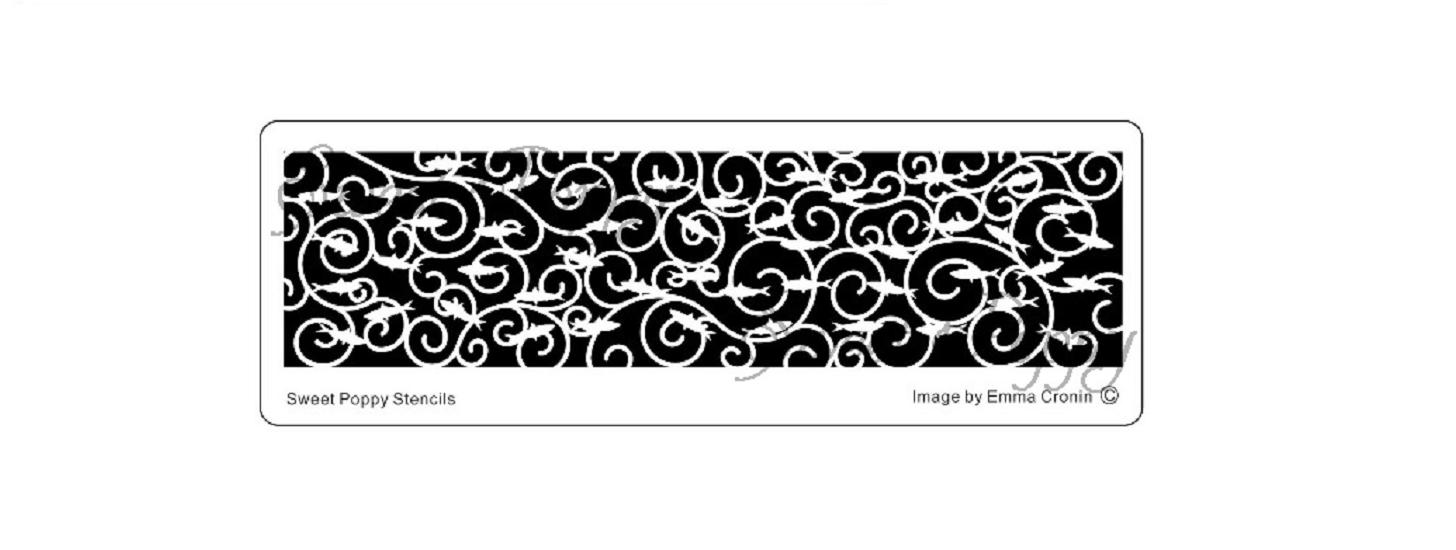 Sweet Poppy Stencil: Sea Scenes Sailfish Border