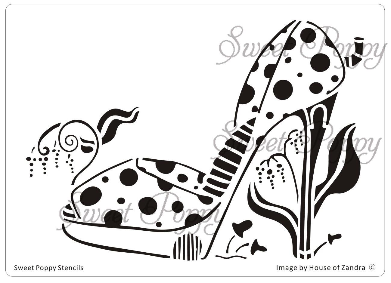 Sweet Poppy Stencil: Shoe 4