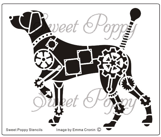 Sweet Poppy Stencil: Mechanical Dog