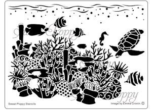 Sweet Poppy Stencil: Sea Scenes Coral Reef
