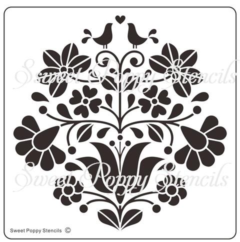 Sweet Poppy Stencil: Floral Love Birds