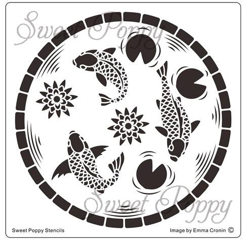 Sweet Poppy Stencil: Koi Pond