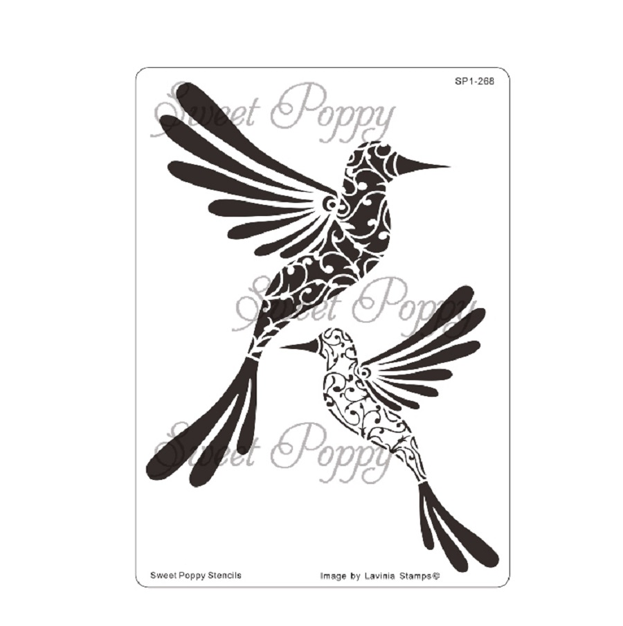 Sweet Poppy Stencil: Hummingbird Duo