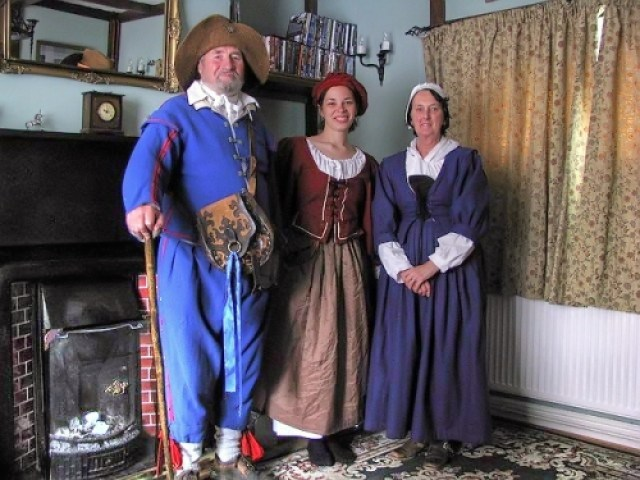 Andy's parents and me, ready to go to a battle re-enactment at Tamworth Castle in Staffordshire, England, 2009.