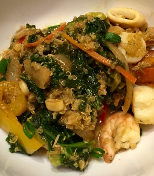 Green Curry Seafood Blend over Asian Style Quinoa