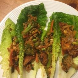 peanut Satay ground turkey lettuce wraps