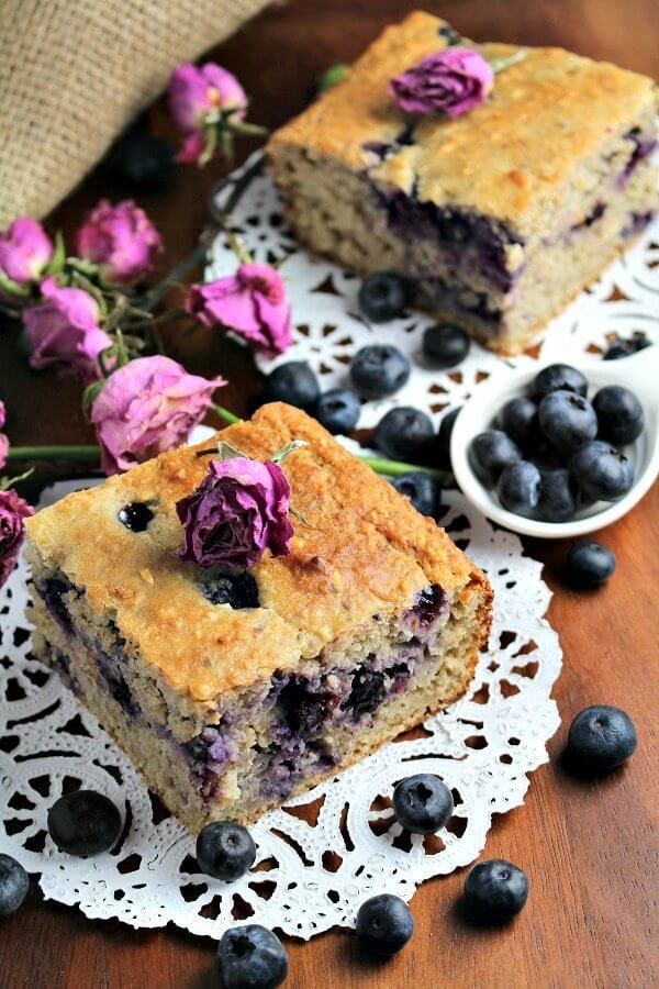 Skinny Blueberry Banana Bread with Oatmeals and Yogurt