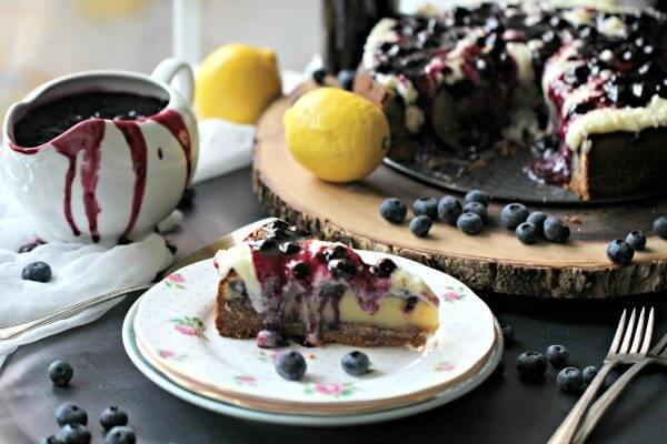 French Custard Cake with Blueberries