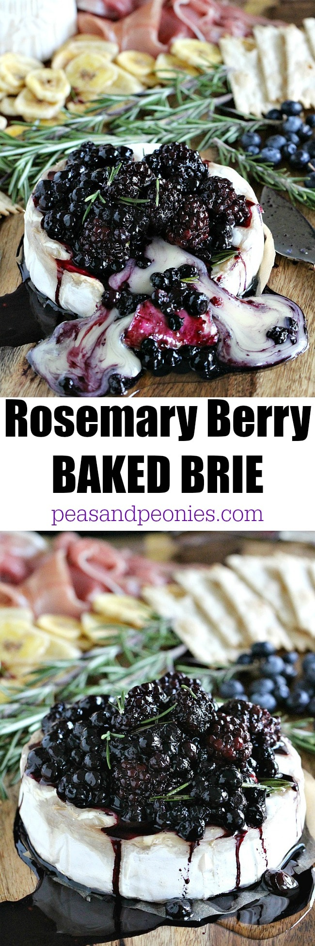 Rosemary Berry Baked Brie with roasted blueberries and blackberries.