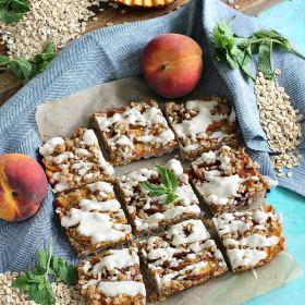Gluten Free Peach Cobbler Bars - Vegan