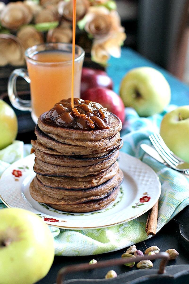 Pistachio Caramel Apple Butter Pancakes 3