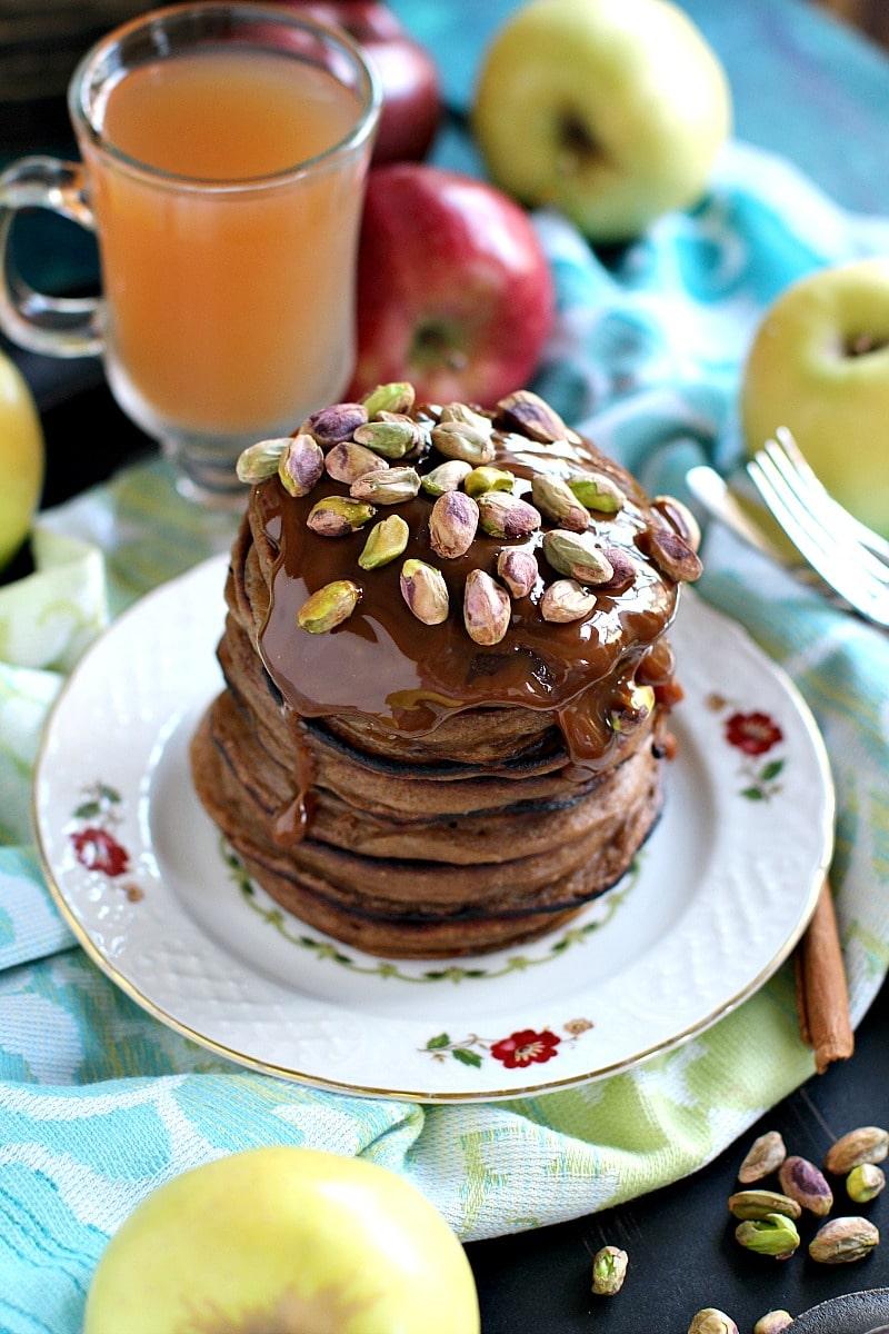 Pistachio Caramel Apple Butter Pancakes 4