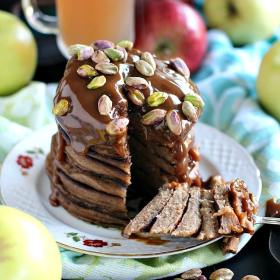 Pistachio Caramel Apple Butter Pancakes