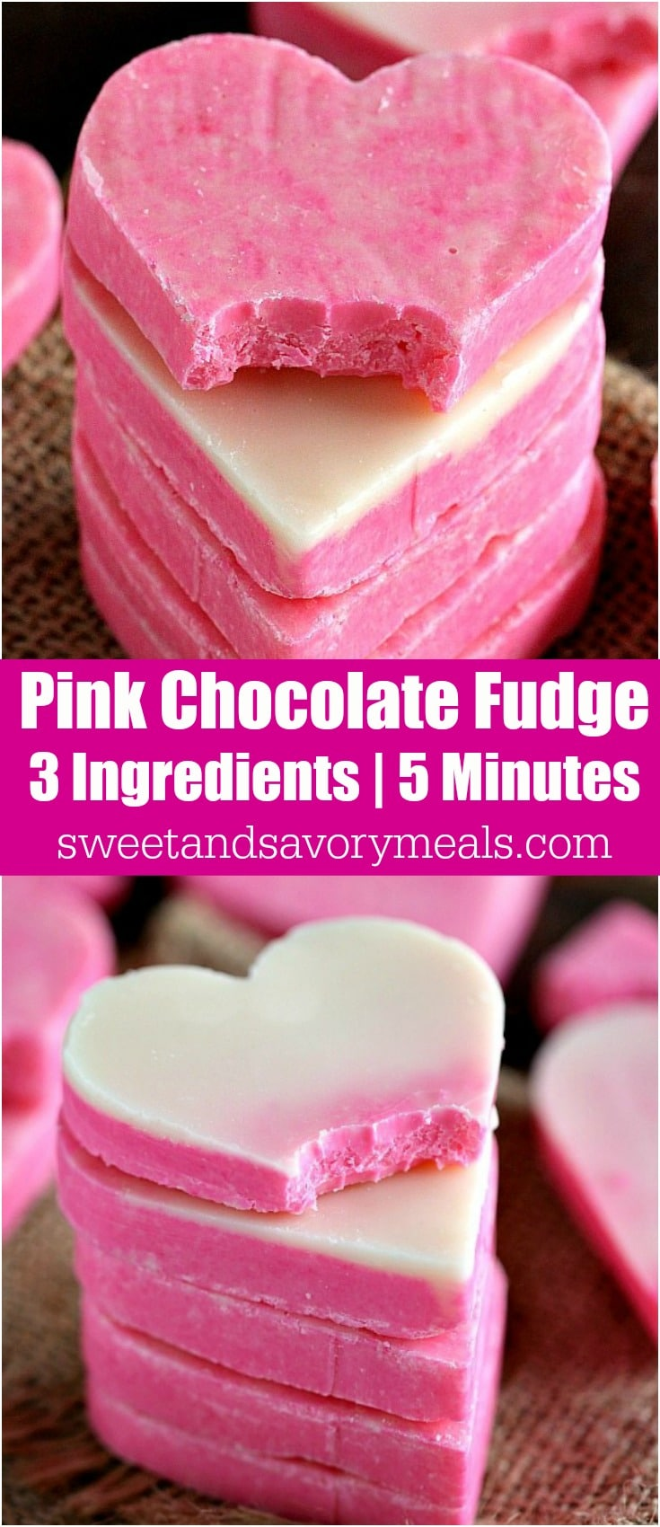No Bake Pink White Chocolate Fudge is incredibly easy to make and very festive. 3 Ingredients, 5 minutes to get a creamy and irresistible fudge.