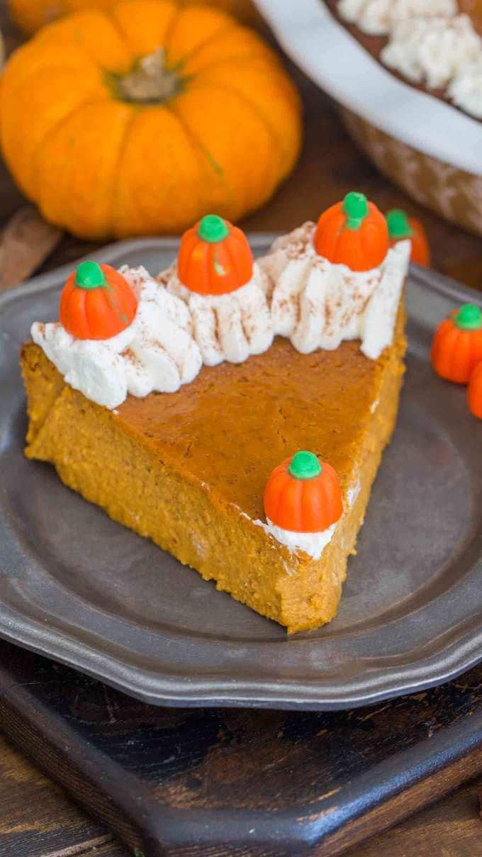 Crustless Pumpkin Pie Slice