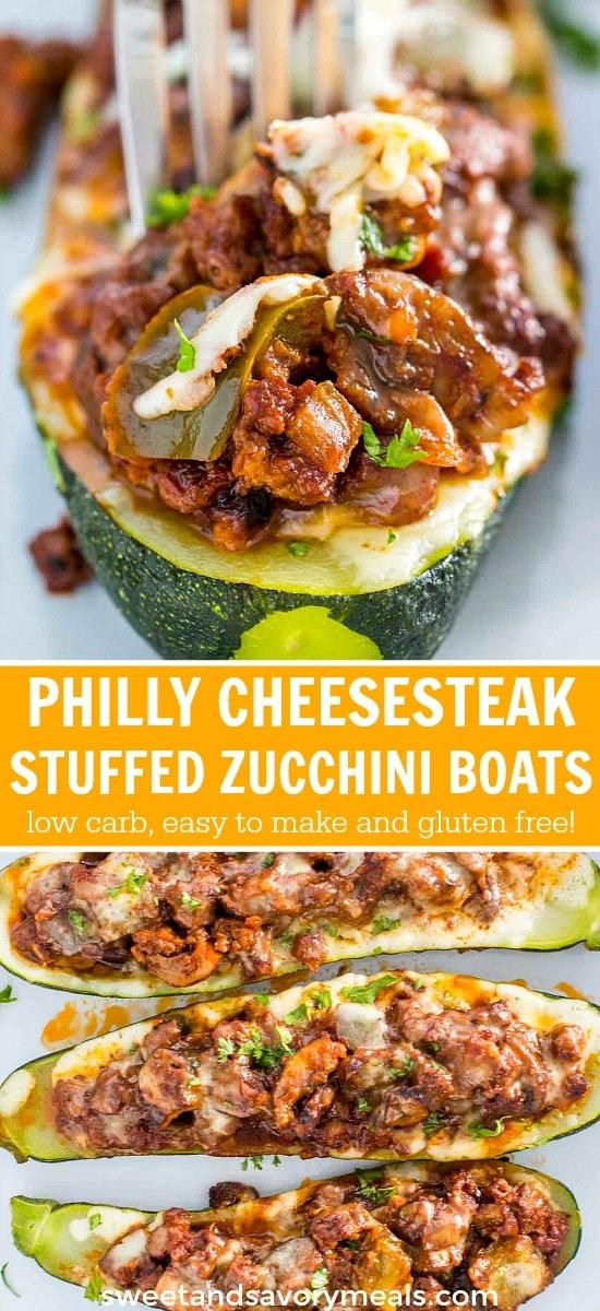 Baked Philly Cheesesteak Stuffed Zucchini Boats
