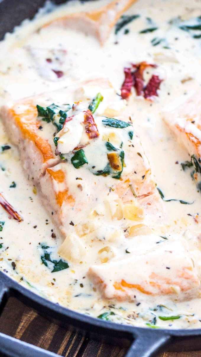 One Pan Tuscan Salmon