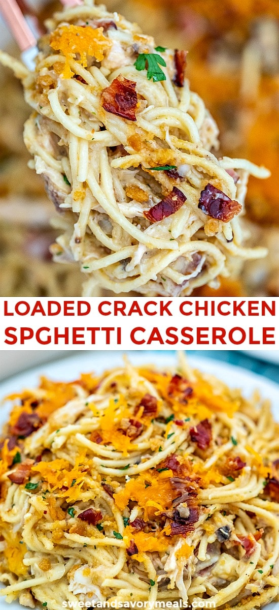 Crack Chicken Spaghetti Casserole is so delicious and addictive! Imagine your favorite creamy spaghetti pasta baked and loaded with the heavenly combination of chicken, cheddar cheese, ranch dressing, and bacon pieces. #casserole #pastabake #crackchicken #chickenrecipes #sweetandsavorymeals