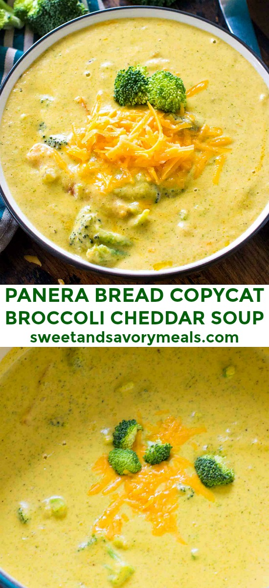 Panera Bread Broccoli Cheddar Soup Copycat is the perfect recipe of your favorite creamy and cheesy soup, that you can now easily make at home. #panerabread #soup #broccolicheddarsoup #sweetandsavorymeals #copycatrecipes