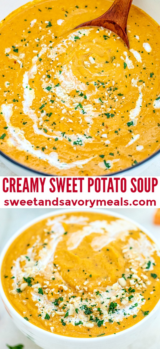 Creamy Sweet Potato Soup is an ideal comforting appetizer for your upcoming dinner party! It is light, with a sweet and savory note to it, making it the most flavorful and delicious soups! #sweetpotato #soup #fallrecipes #thanksgiving #sweetandsavorymeals