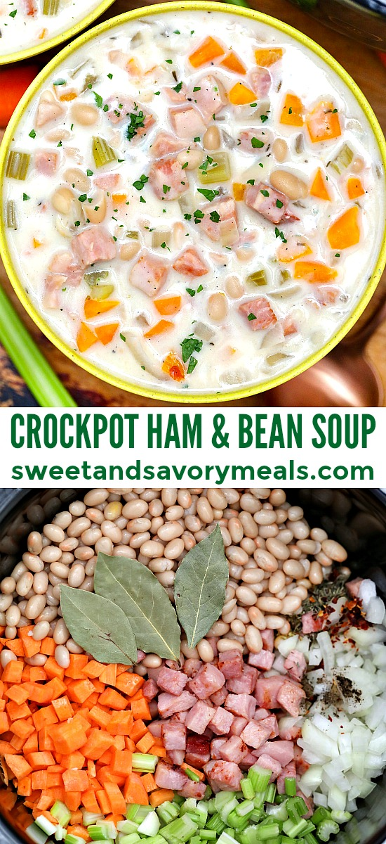 Slow Cooker Ham and Bean Soup smells divine as it simmers and it tastes just as amazing! #slowcooker #crockpotrecipes #hamandbeansoup #souprecipes #sweetandsavorymeals