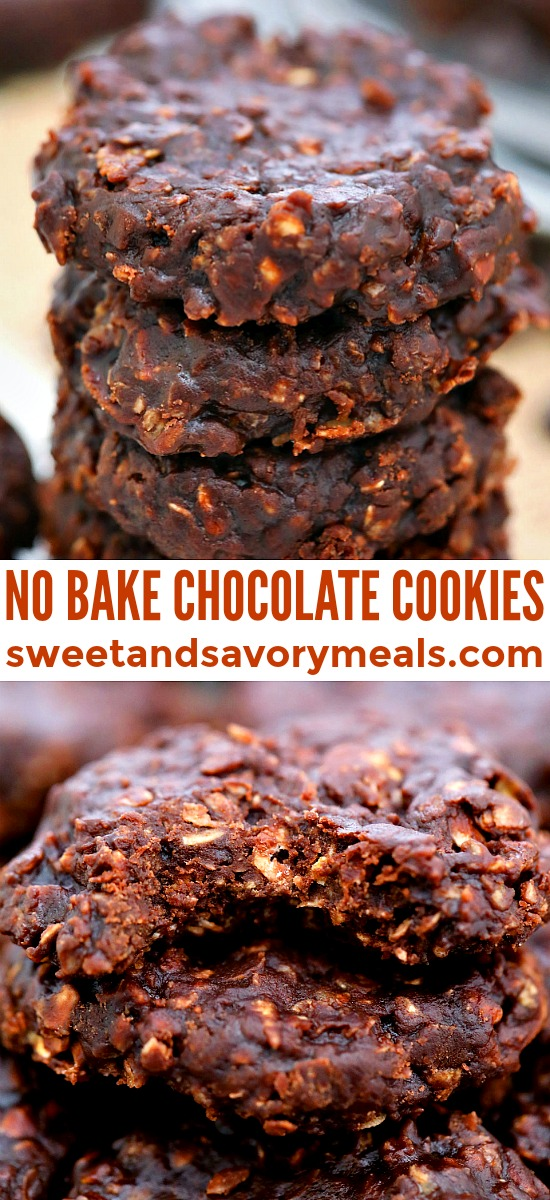 No-Bake Cookies are chewy, chocolaty and nutty at the same time! The best part is that they are quick to make and no use of the oven in this recipe! #nobake #nobakecookies #cookies #christmascookies #sweetandsavorymeals