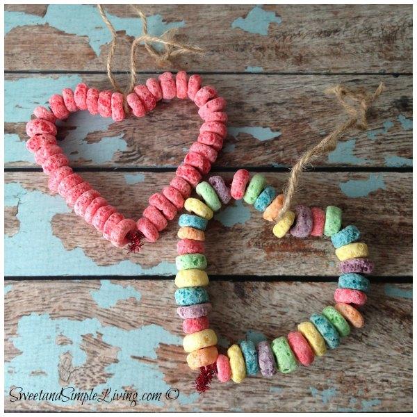 Preschool Valentine Crafts Fruit Loop Heart Bird Feeder