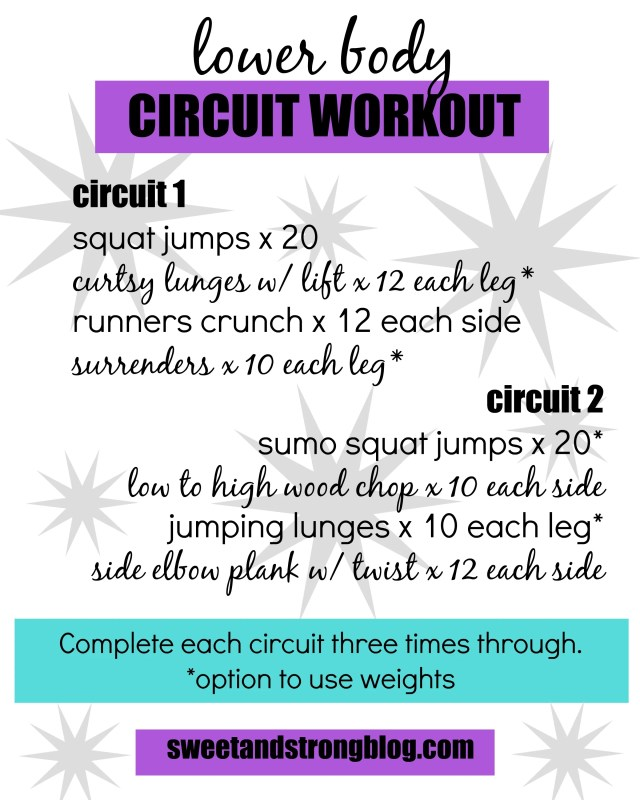 Lower Body Circuit Workout. Workout your legs and abs doing body weight and strength training exercises. Sweet and Strong Blog