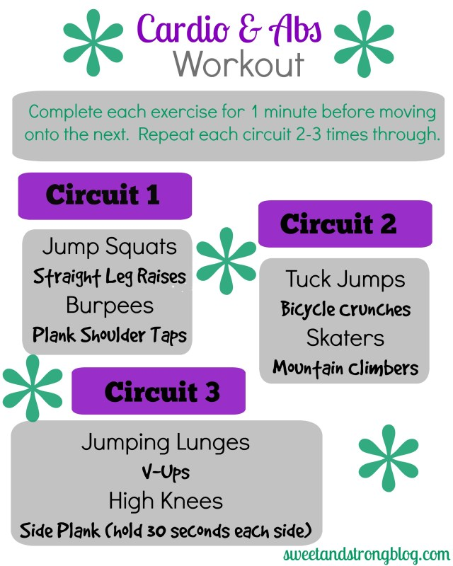 Cardio and Abs Circuit Workout. Strengthen your core and get your heart rate up with these body weight exercises.
