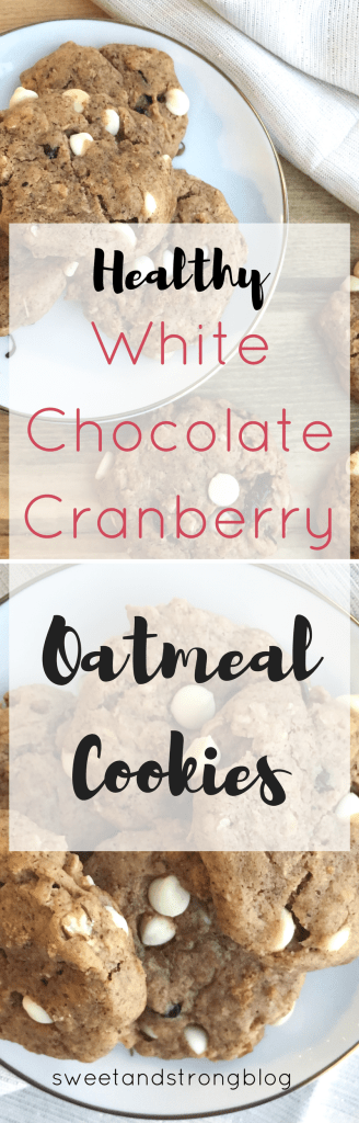 Healthy white chocolate cranberry oatmeal cookies for the holidays.