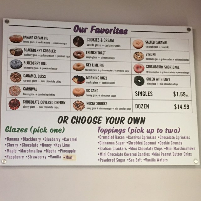 Fractured Prune Doughnuts Menu