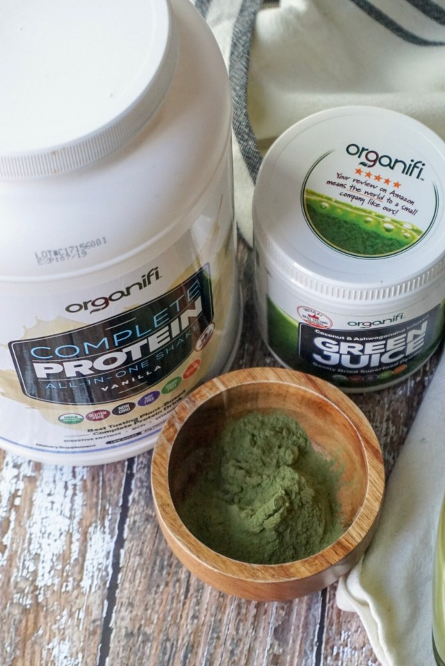 Mint Chocolate Chip Protein Shake with Organifi Vanilla Protein and Green Juice