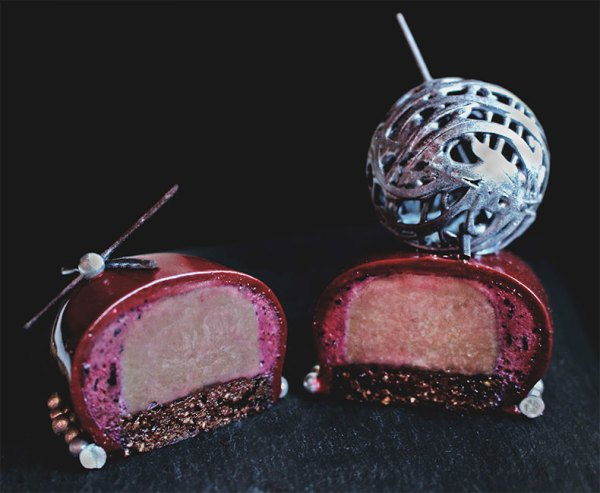 Black Currant and Cranberry Mousse with Chocolate Crémeux on Chocolate Brownie ~ La Facilité Desserts