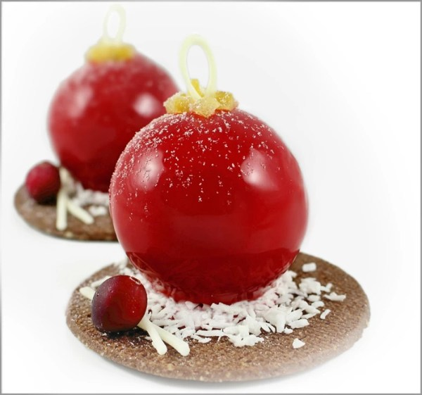 Ginger Chocolate Mousse with Cranberry Crémeux on Chocolate Linzer Cookies ~ Christmas Bauble Desserts