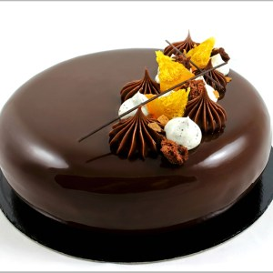 Mascarpone Mousse with Orange Jelly and Orange Crémeux on Dark Chocolate Brownie ~ Orange Frullato Entremet