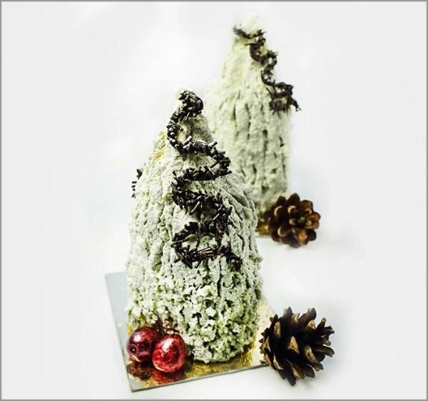 Pistachio Mousse with Cranberry Crémeux on Pistachio Joconde ~ Christmas Trees Dessert Recipe