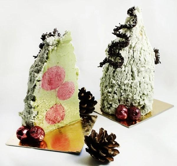 Pistachio Mousse with Cranberry Crémeux on Pistachio Joconde ~ Christmas Trees Dessert