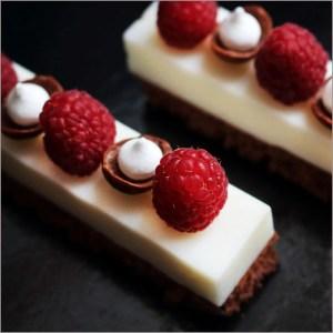 Mascarpone Mousse with Fresh Raspberries and Meringues on Raspberry Brownie ~ La Valse du Soir