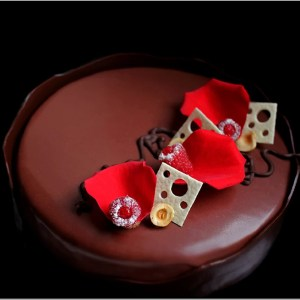 Mascarpone Mousse with Berries Compote and Dark Chocolate Mousse on Flourless Brownie ~ Nocturne Entremet