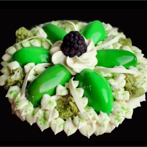 Lime Greek Yogurt Mousse with White Chocolate Cream on Pistachio Financier ~ Goídel Cakes