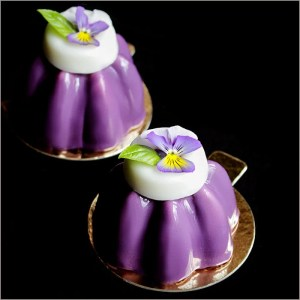 Blueberry Mousse with Mango Curd with Mascarpone Top on Lemon Joconde ~ Pierre de Myrtille Desserts