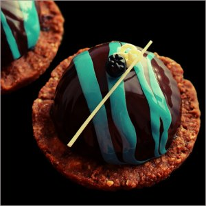 Yuzu Crémeux with Blueberry Mousse on Milk Chocolate Hazelnut Base ~ L'Eau Desserts