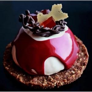 Cherry Crémeux with Mascarpone Cheese Mousse on Milk Chocolate Hazelnut Base ~ Le Feu Desserts