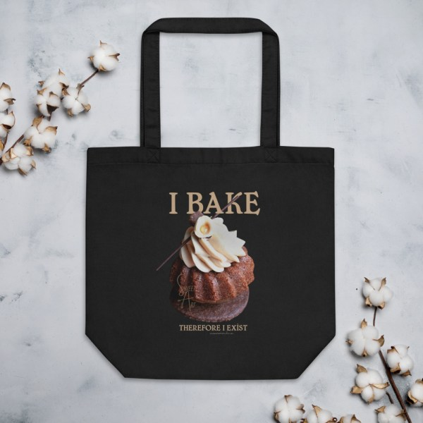 I Bake Therefore I Exist Black Eco Tote Bag with Hazelnut Cupcake