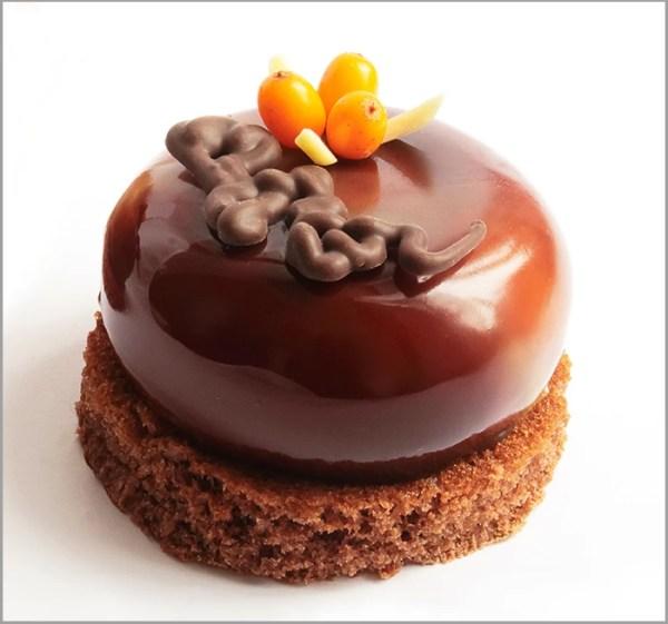Sea Buckthorn Crémeux with Milk Chocolate Mousse on Brownie Base ~ La Ripresa Dessert